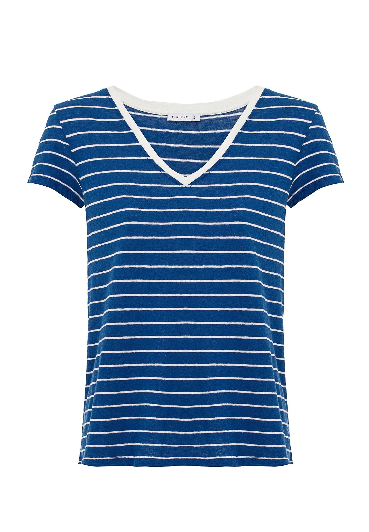 Bayan Mavi V Yaka Çizgili Keten Tişört