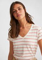 Bayan Çok Renkli V Yaka Çizgili Keten Tişört