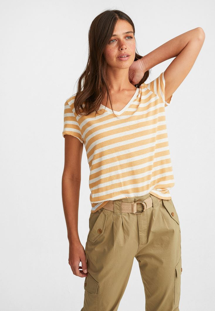 Mixed V-Neck Linen T-Shirt