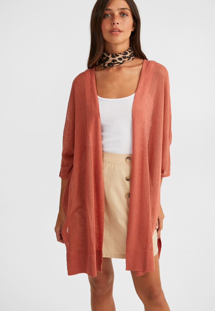 Orange Linen-Blend Knitwear Jacket