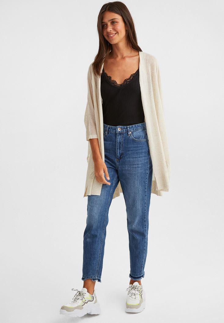 Cream Linen-Blend Knitwear Jacket