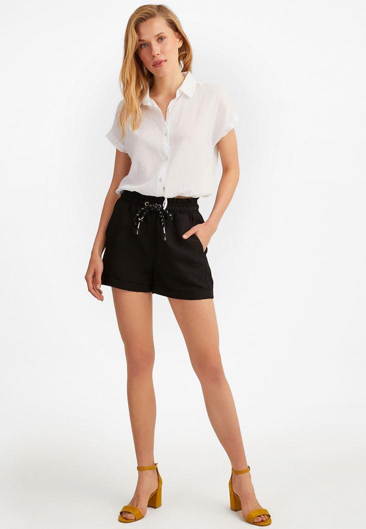 Black Elastic Belted Linen Shorts
