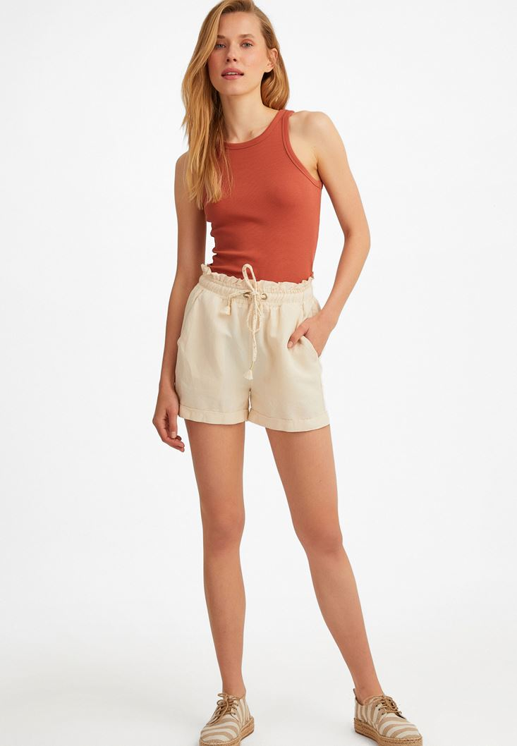 Cream Elastic Belted Linen Shorts