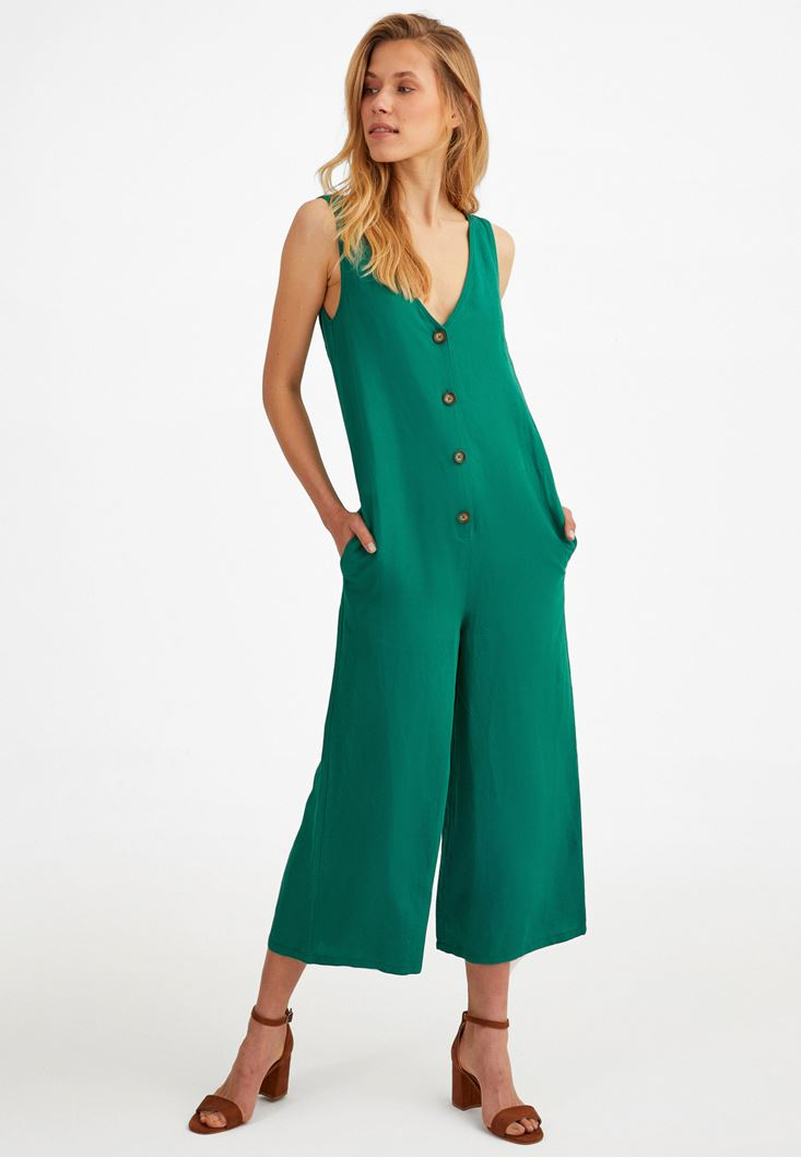 Green Buttoned Jumpsuit