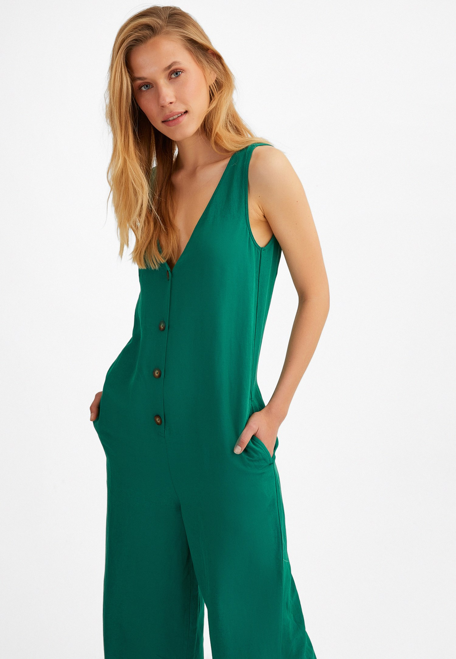 Bayan Yeşil Düğme Detaylı Tulum