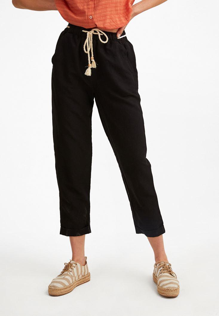 Siyah Bağcık Detaylı Bol Pantolon