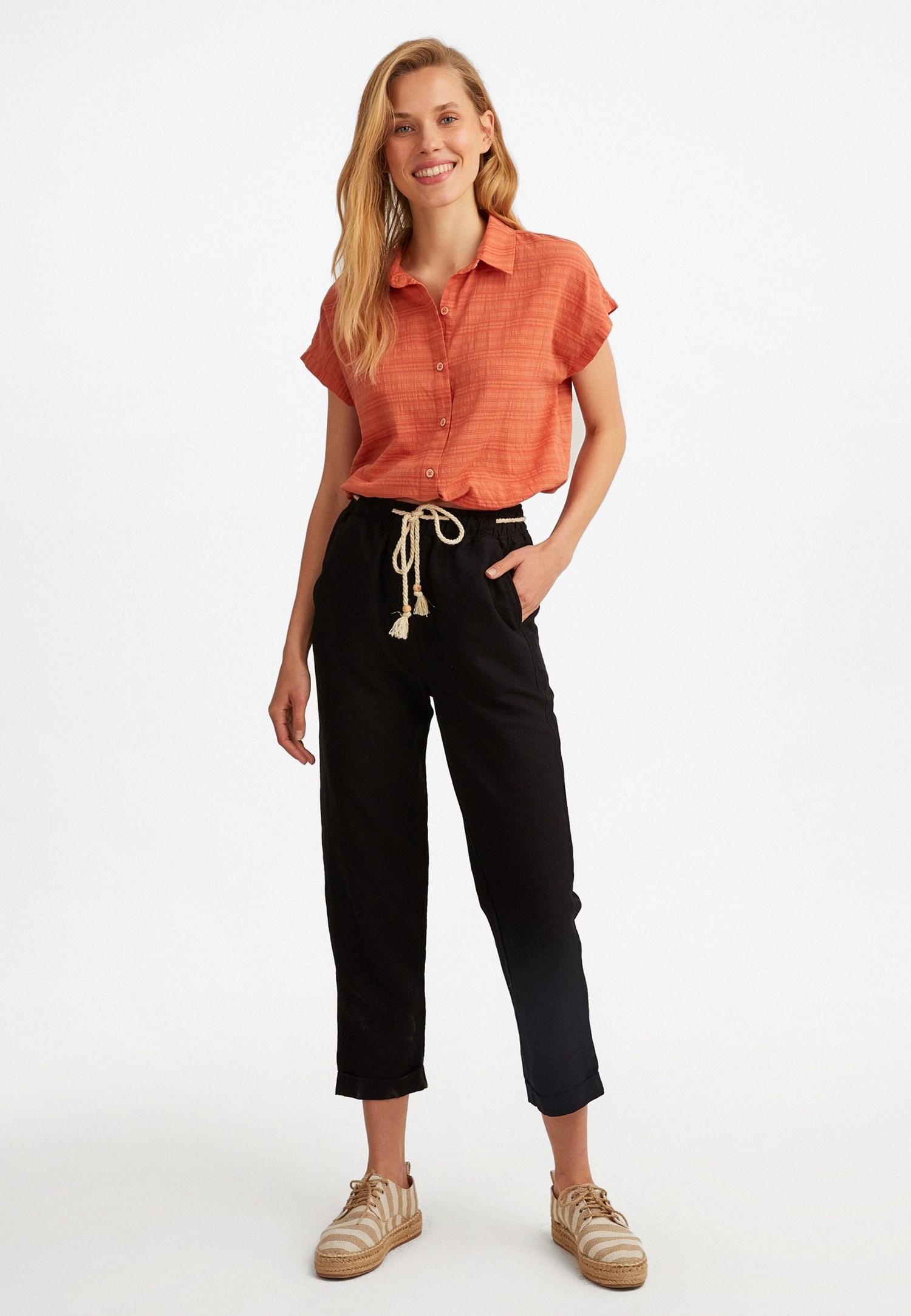 Bayan Siyah Bağcık Detaylı Bol Pantolon