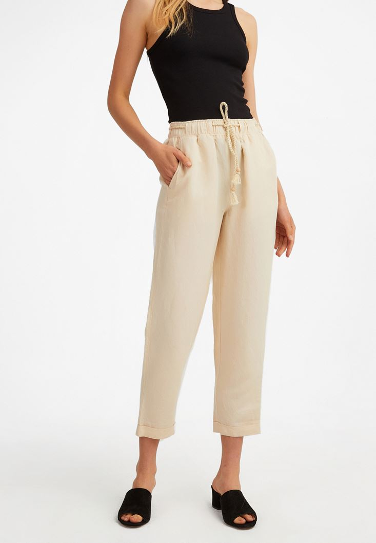 Cream Elastic Belted Trousers