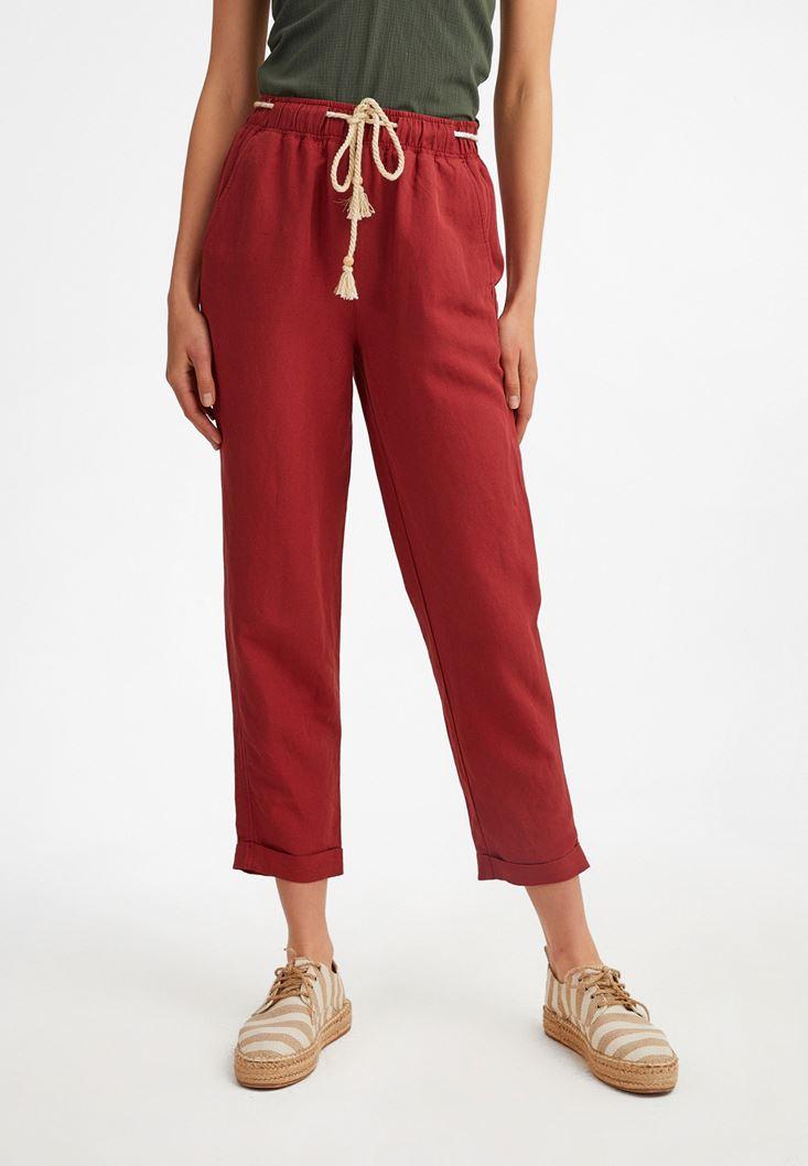 Bordo Bağcık Detaylı Bol Pantolon