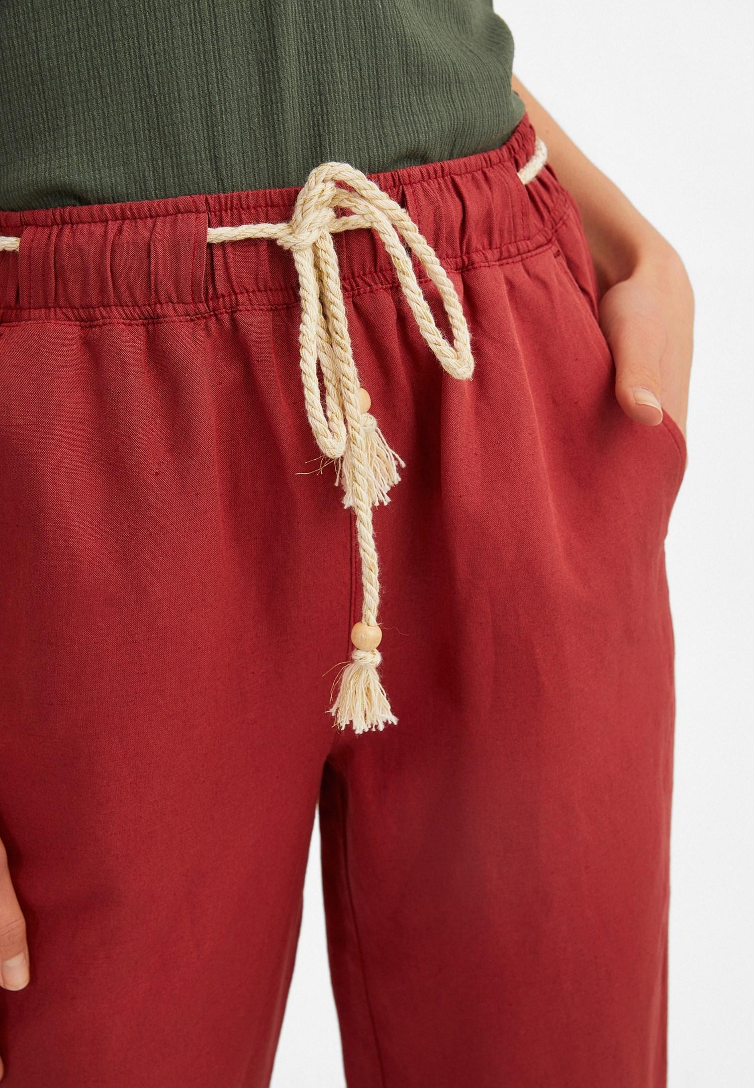 Women Bordeaux Elastic Belted Trousers