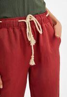 Bayan Bordo Bağcık Detaylı Bol Pantolon