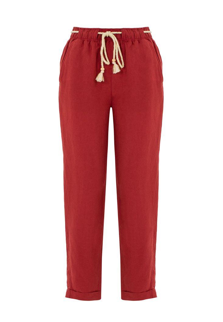 Bağcık Detaylı Bol Pantolon