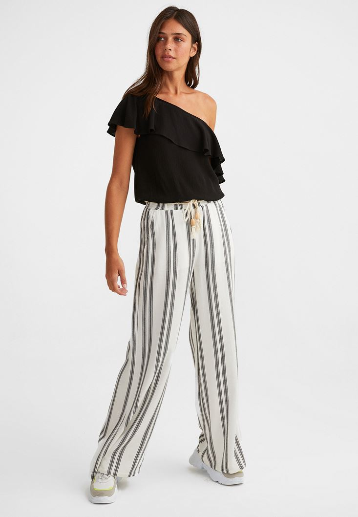 Mixed Striped Wide Leg Trousers