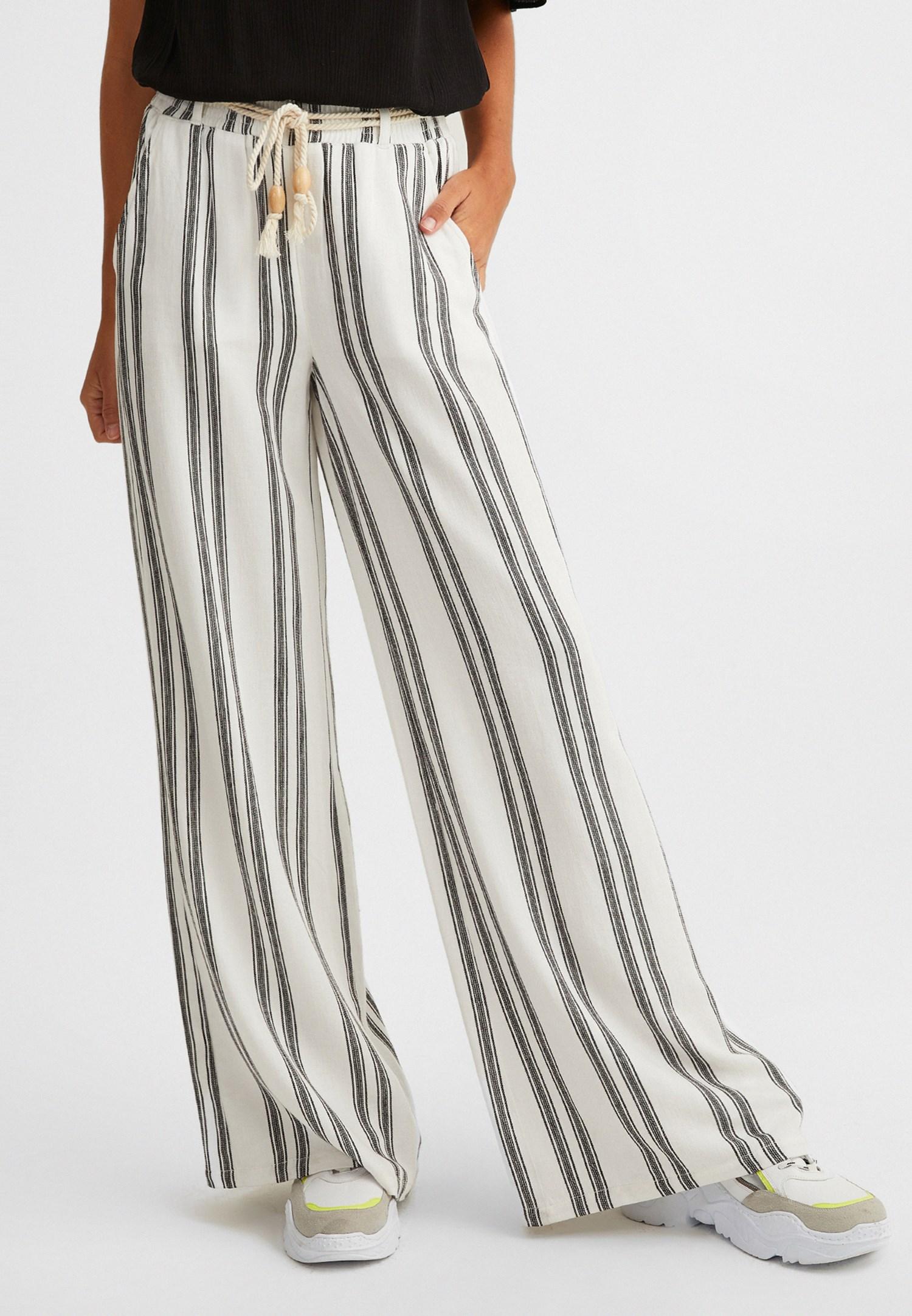 Bayan Siyah Çizgili Bol Paça Pantolon
