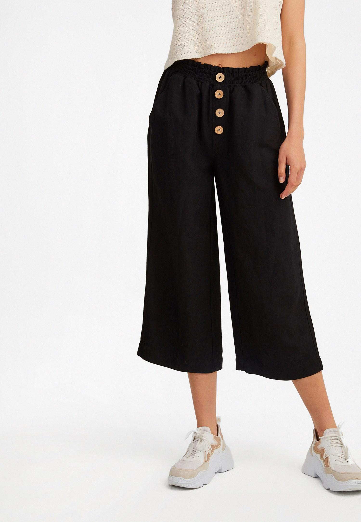 Bayan Siyah Keten Karışımlı Bol Pantolon