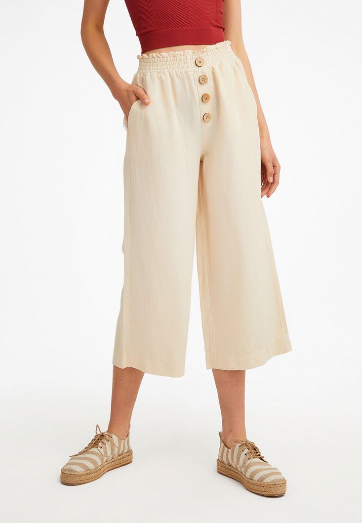 Krem Keten Karışımlı Bol Pantolon