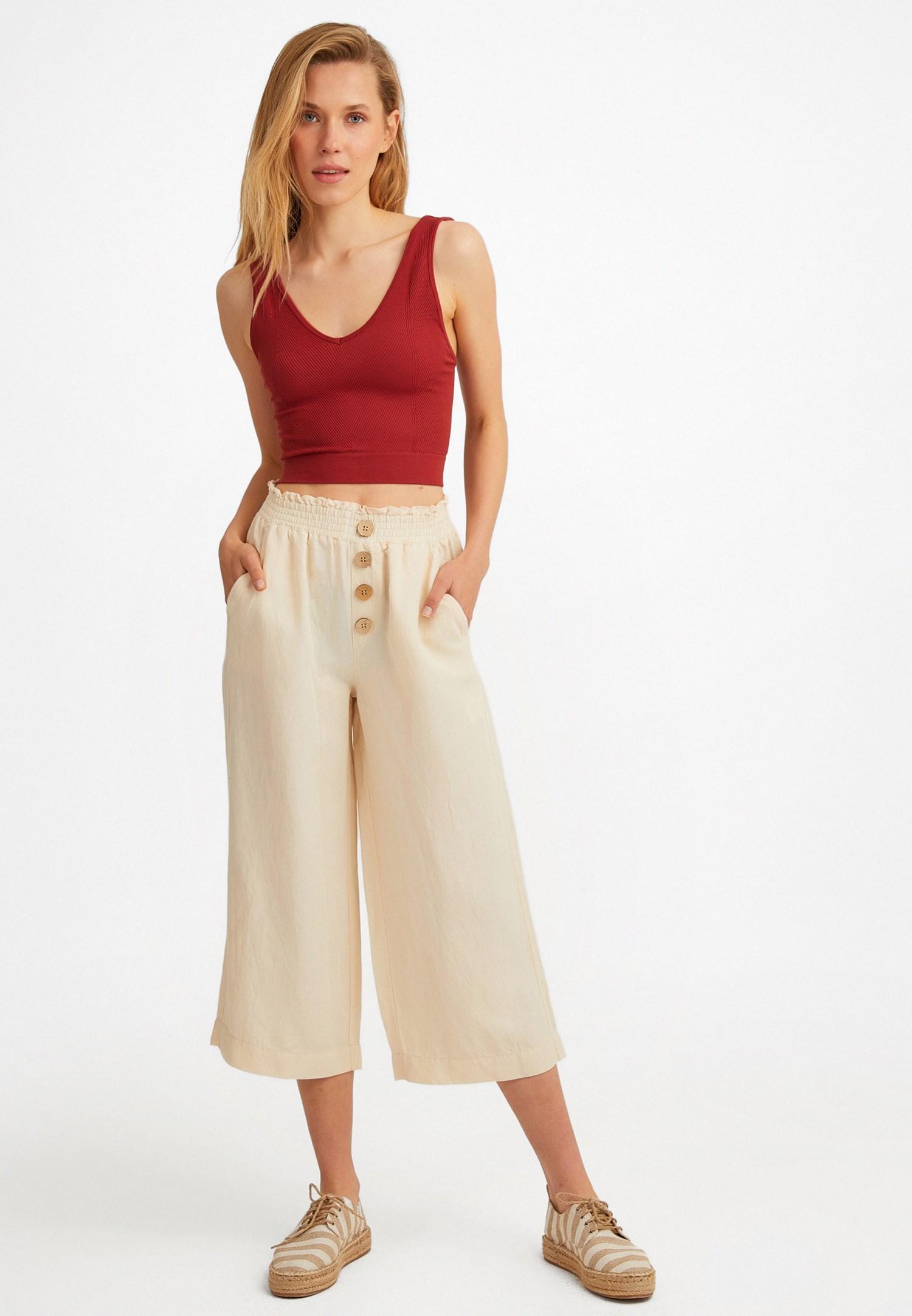 Bayan Krem Keten Karışımlı Bol Pantolon