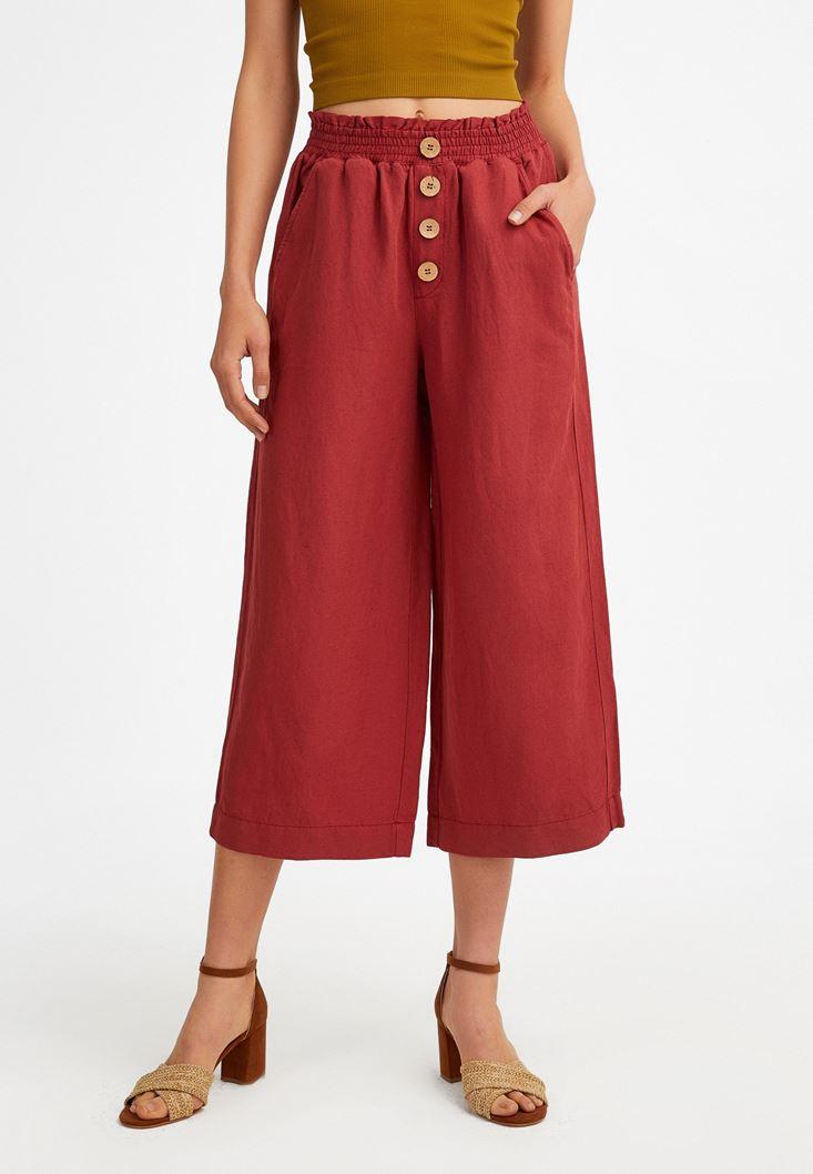 Bordo Keten Karışımlı Bol Pantolon