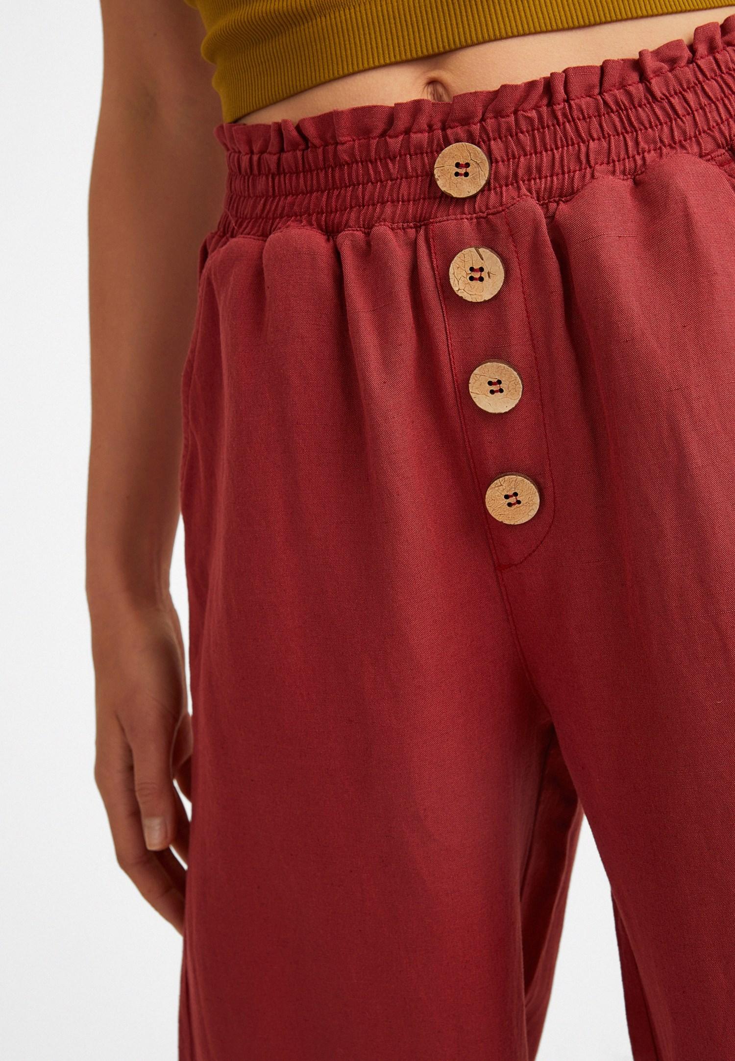 Bayan Bordo Keten Karışımlı Bol Pantolon