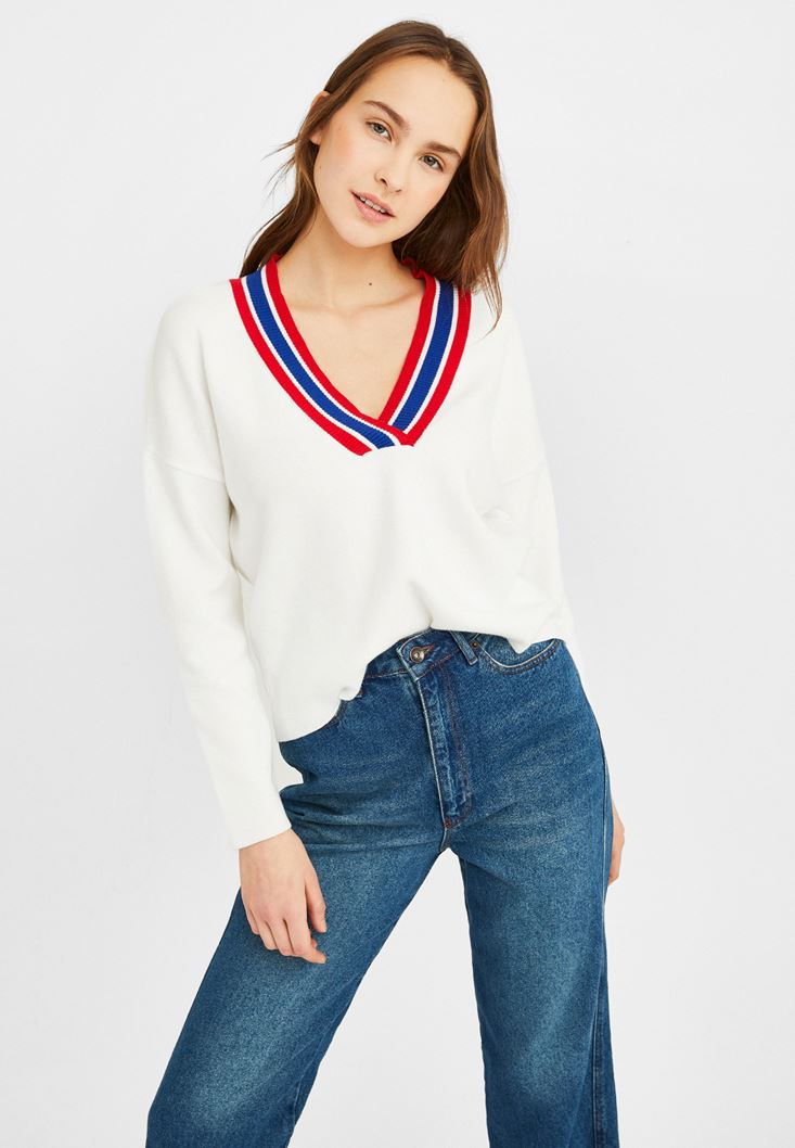 Cream V Neck Knitwear with Stripe Detail