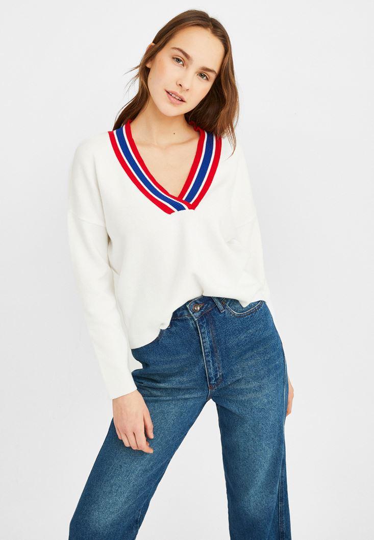Cream V Neck Knitwear with Stripe Detail