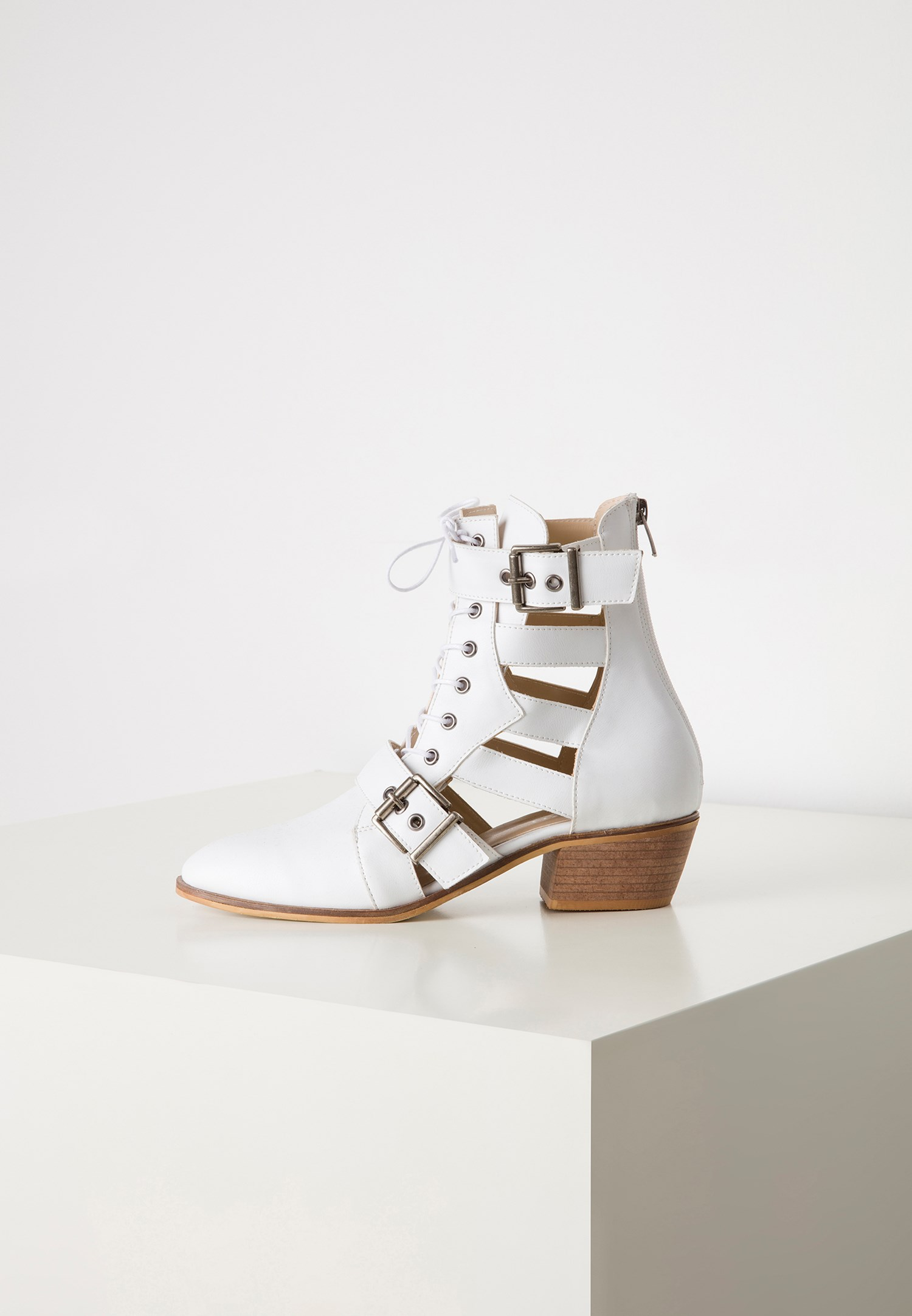 Women White Cut-out Ankle Boots
