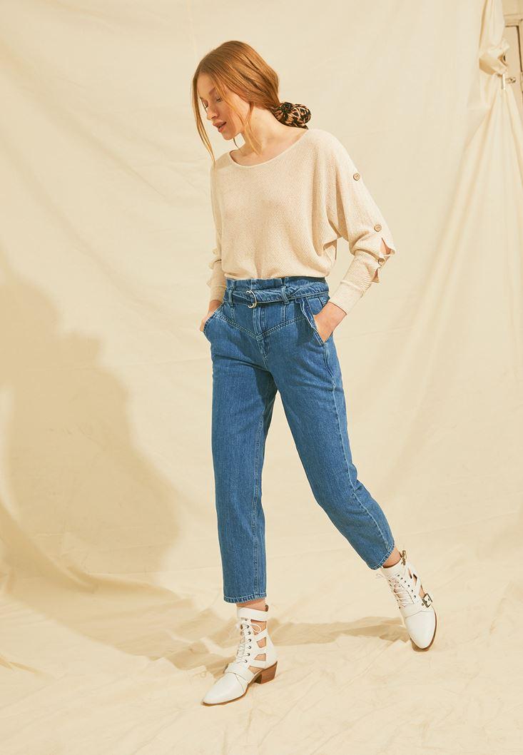 Mavi Kemerli Yüksel Bel Jean