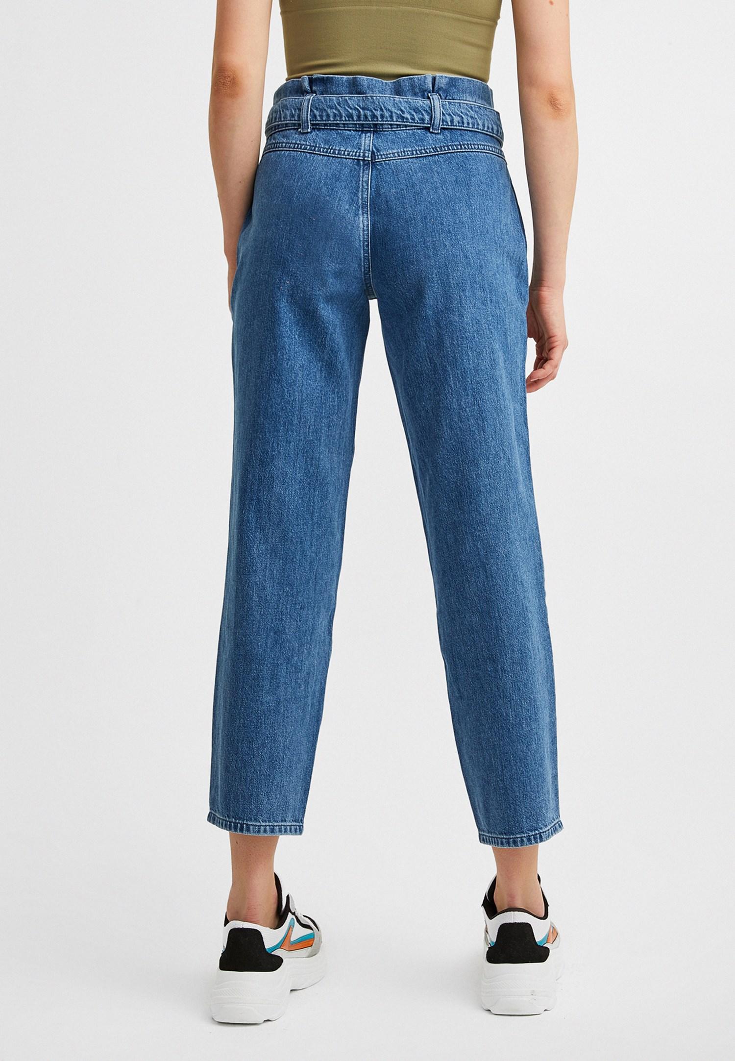 Bayan Mavi Kemerli Yüksel Bel Jean