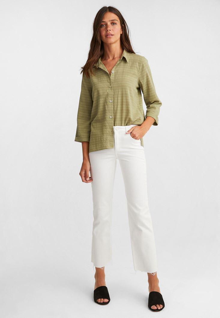 Beyaz Yüksek Bel Kısa İspanyol Paça Pantolon