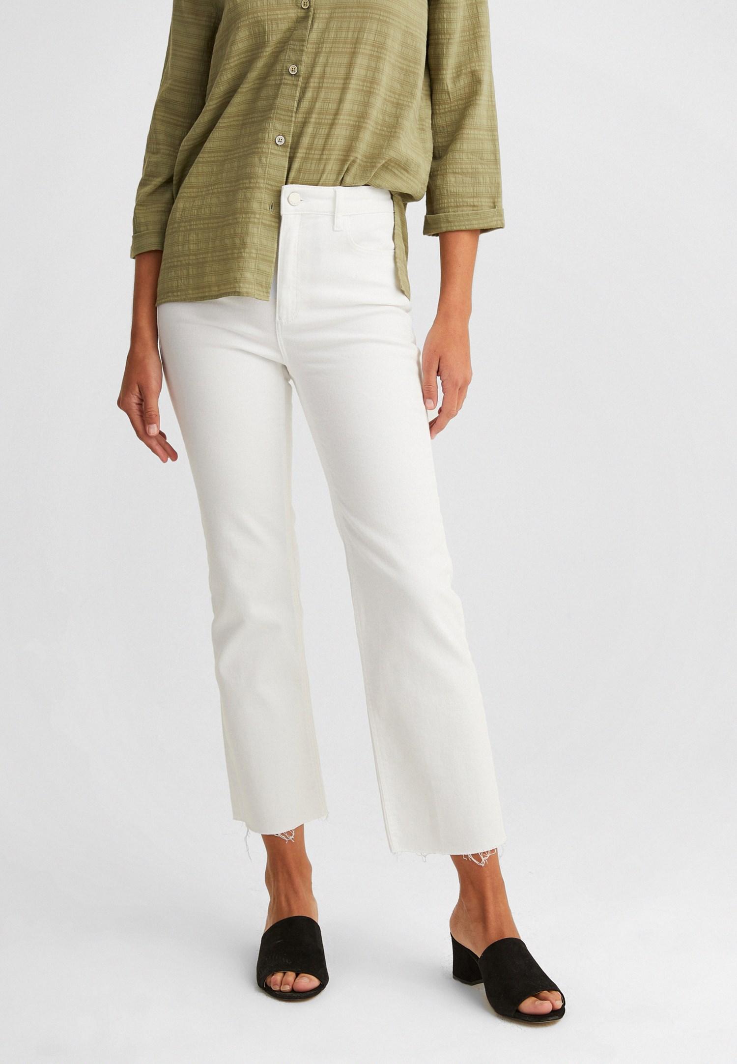Bayan Beyaz Yüksek Bel Kısa İspanyol Paça Pantolon