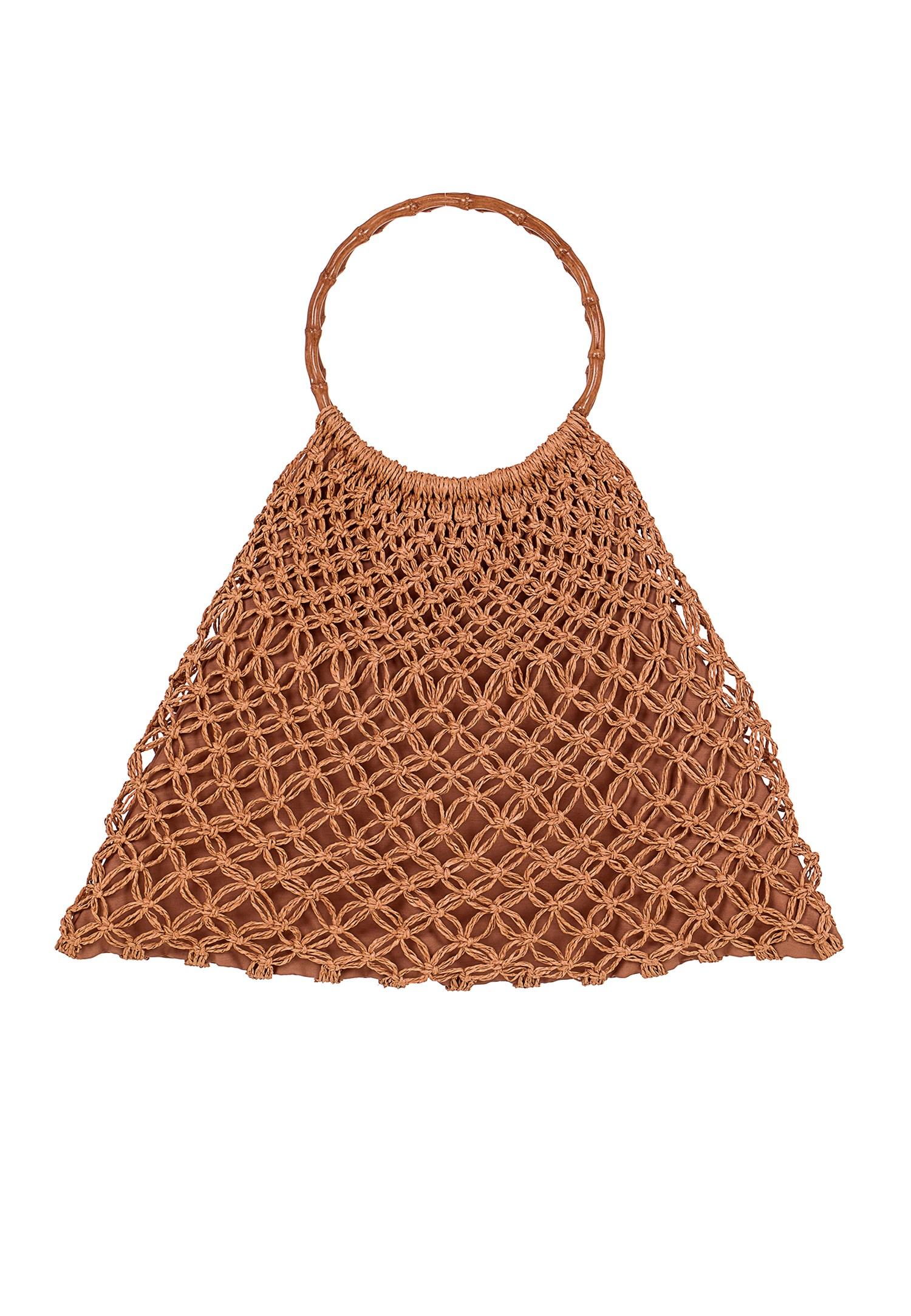Bayan Kahverengi El Yapımı Hasır Çanta