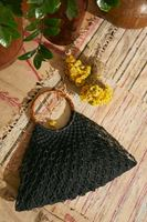 Bayan Siyah El Yapımı Hasır Çanta