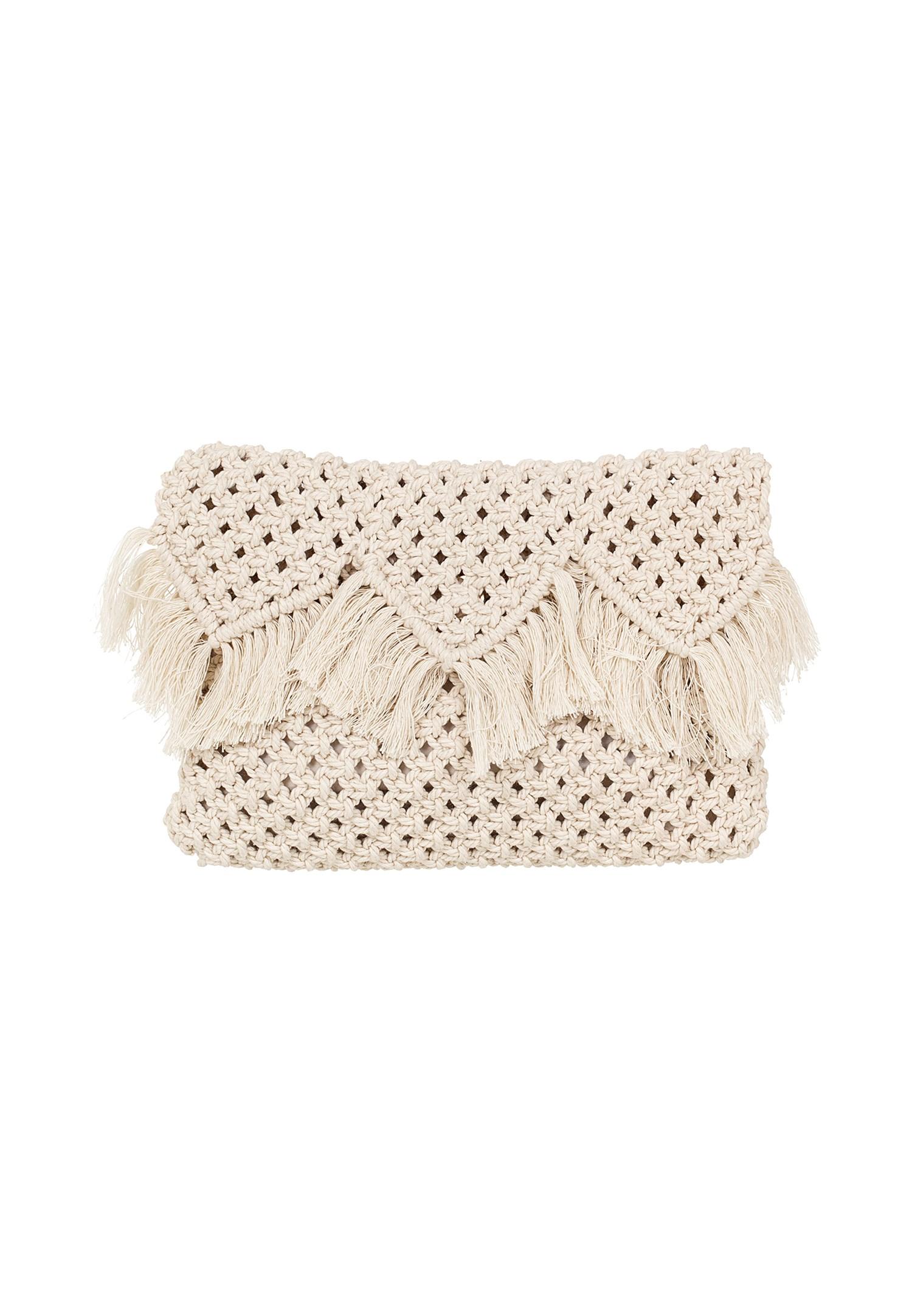 Bayan Krem El Yapımı Kroşe Mini Çanta