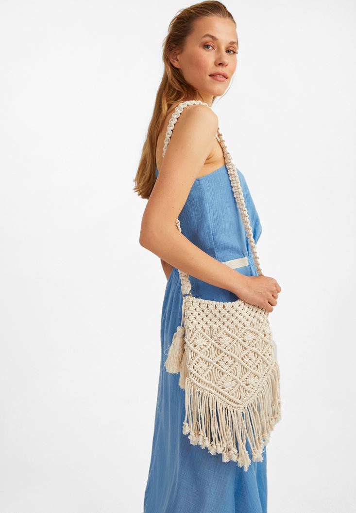 Cream Handmade Fringed Bag