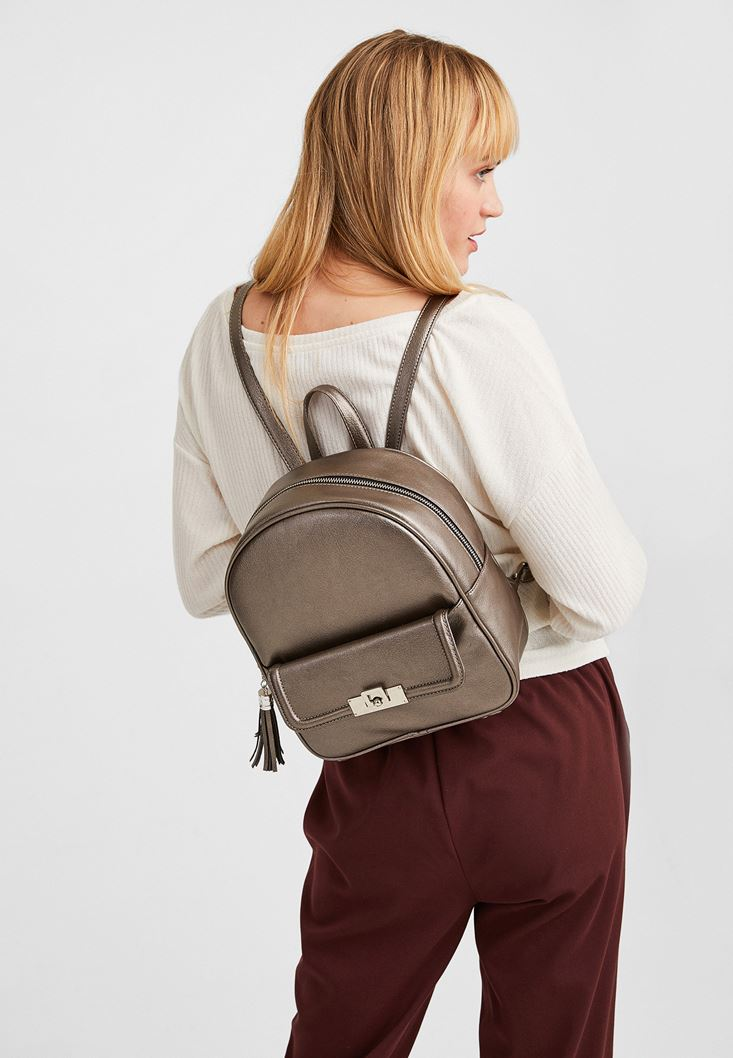 Grey Backpack with Pocket