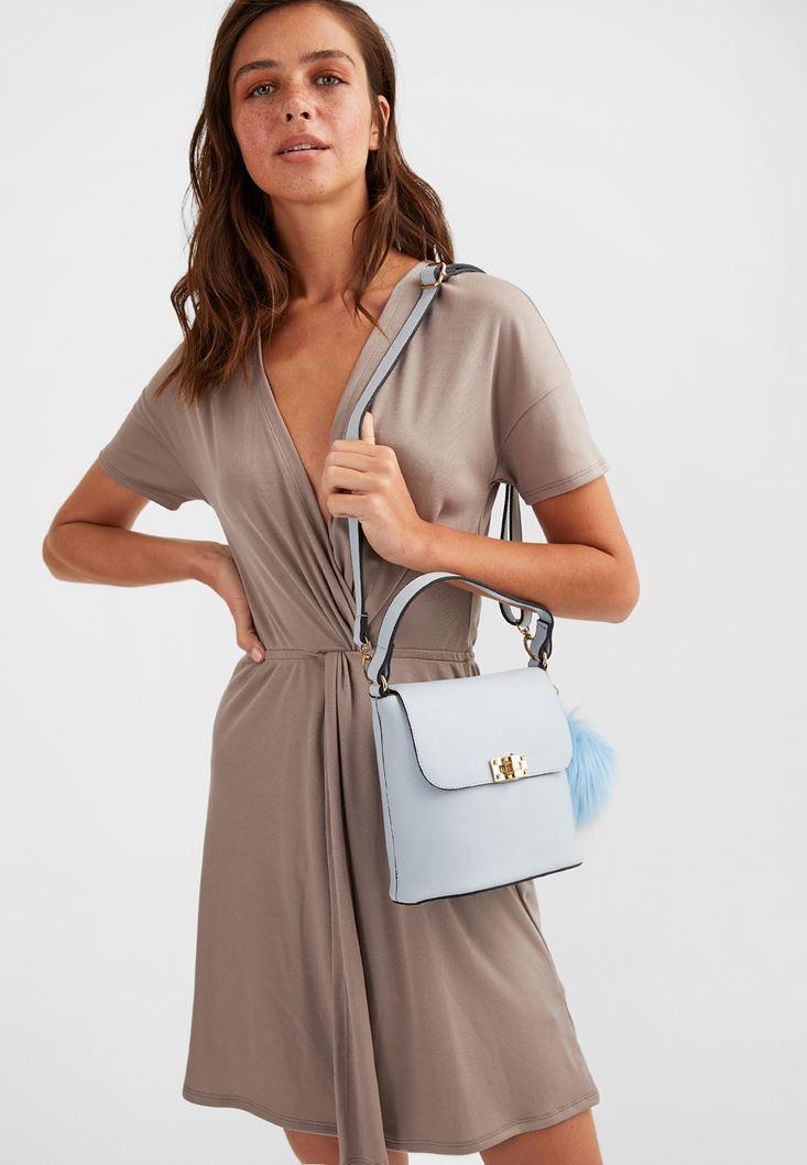 Blue Shoulder Bag with Pompom