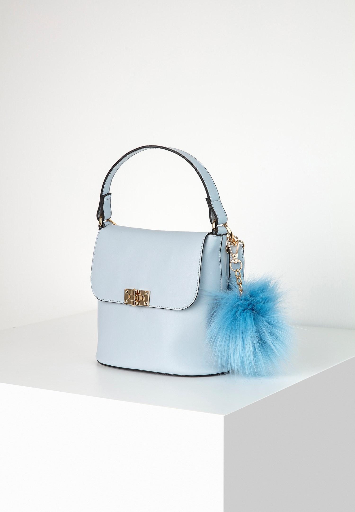 Bayan Mavi Ponpon Detaylı Kol Çantası