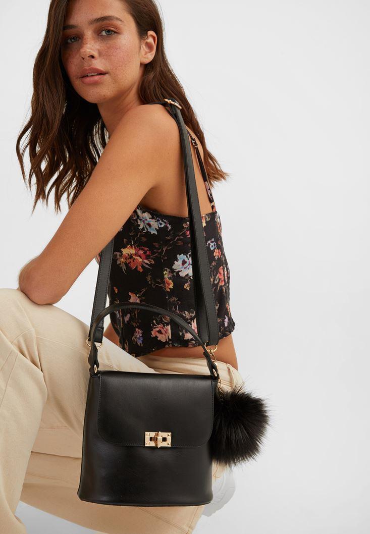 Black Shoulder Bag with Pompom