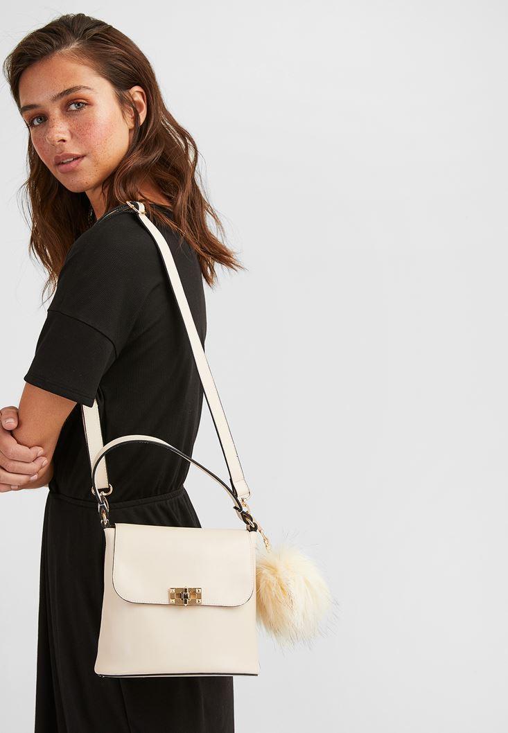 Cream Shoulder Bag with Pompom