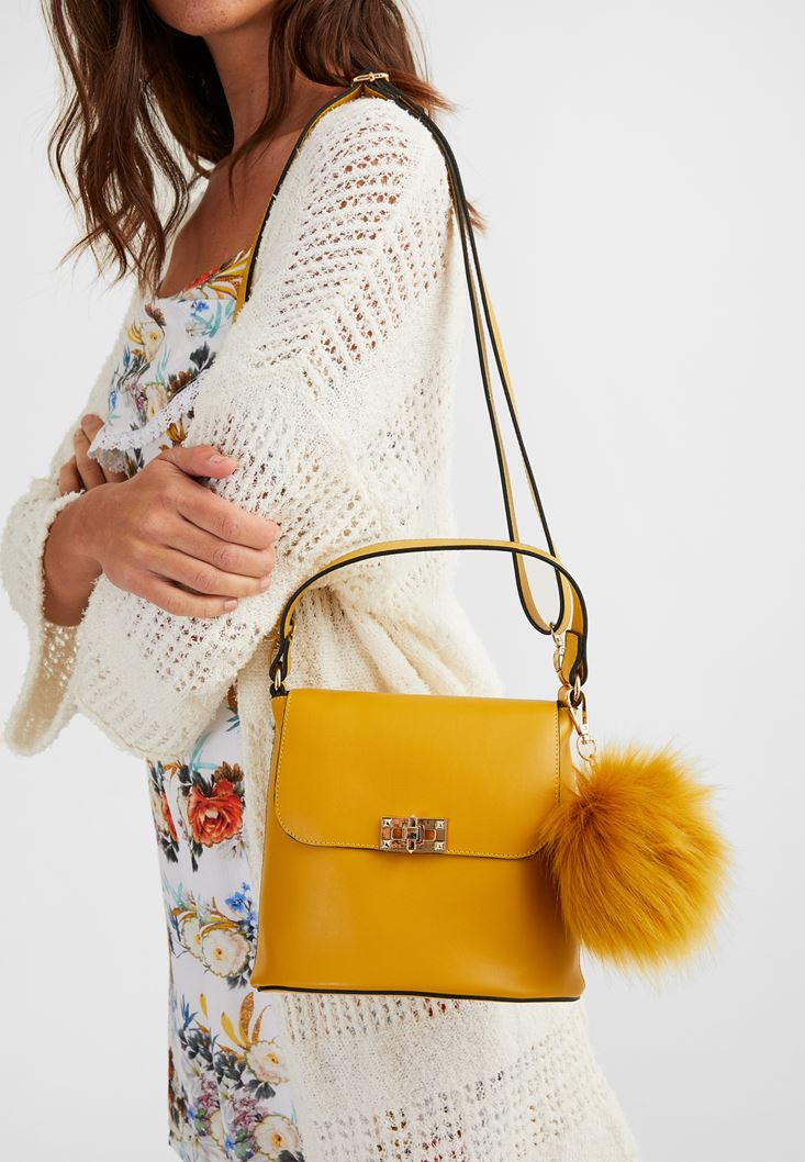 Yellow Shoulder Bag with Pompom