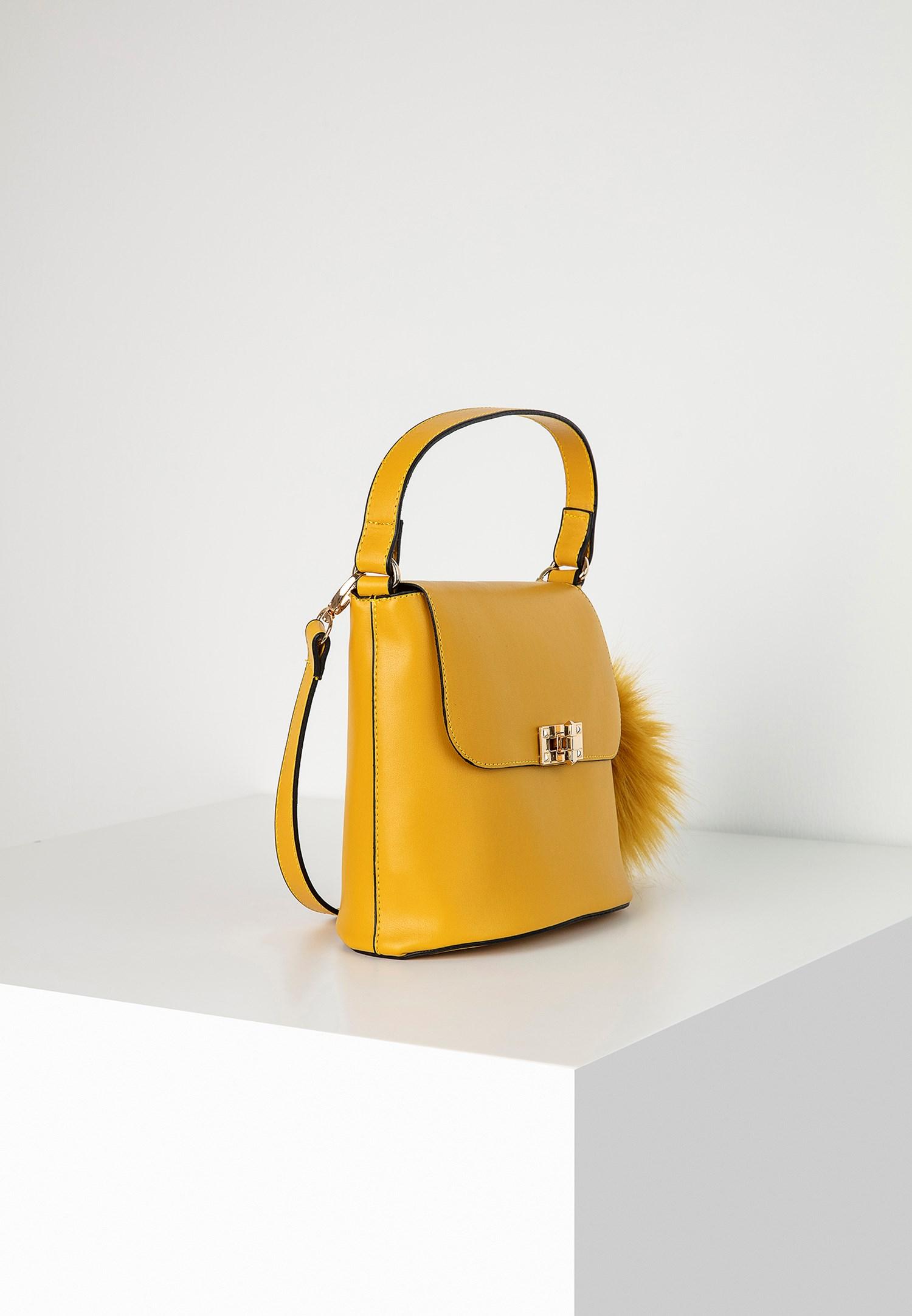 Bayan Sarı Ponpon Detaylı Kol Çantası