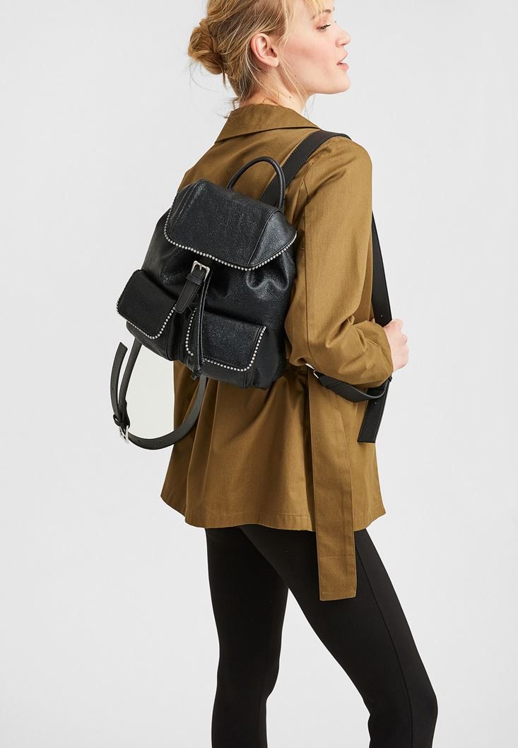Black Backpack with Pockets