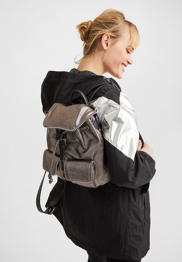 Grey Backpack with Pockets