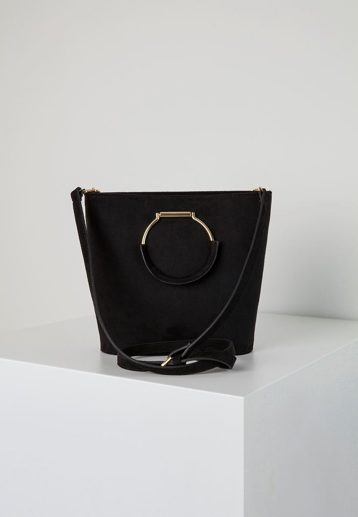 Black Tote Bag with Metal Handles