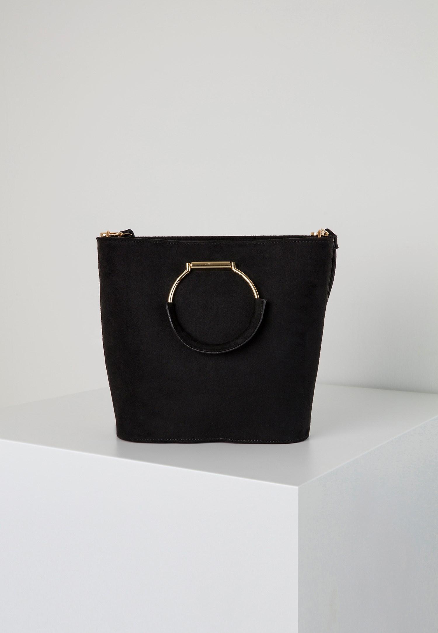 Bayan Siyah Halka Tokalı Askılı Çanta