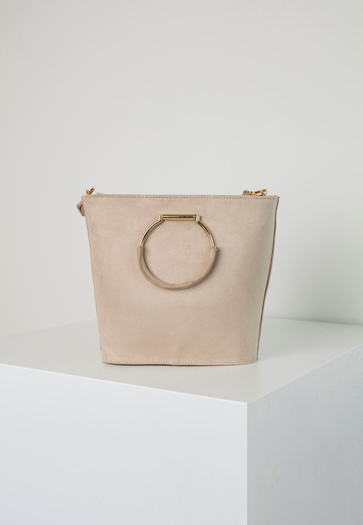 Cream Tote Bag with Metal Handles