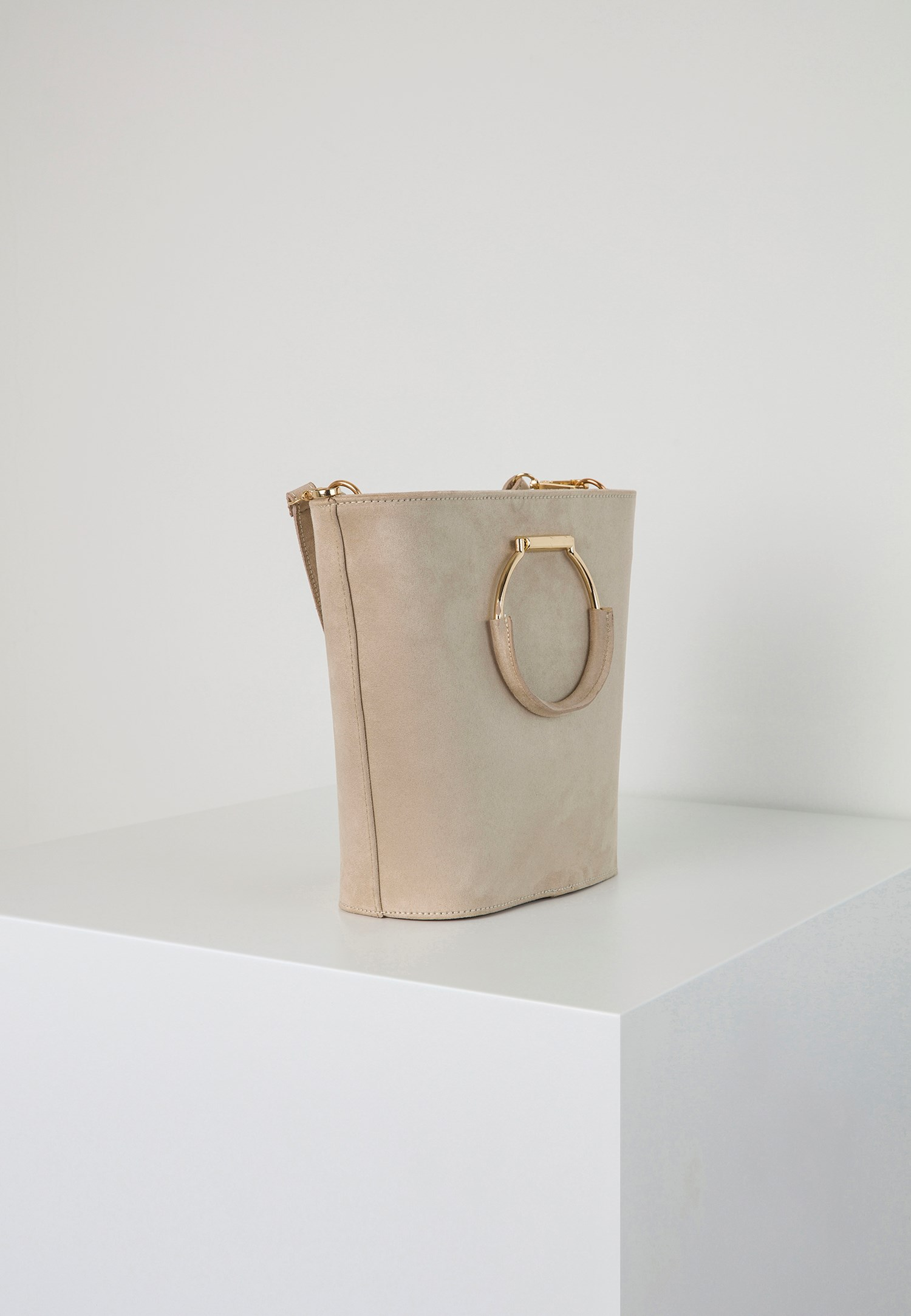 Bayan Krem Halka Tokalı Askılı Çanta