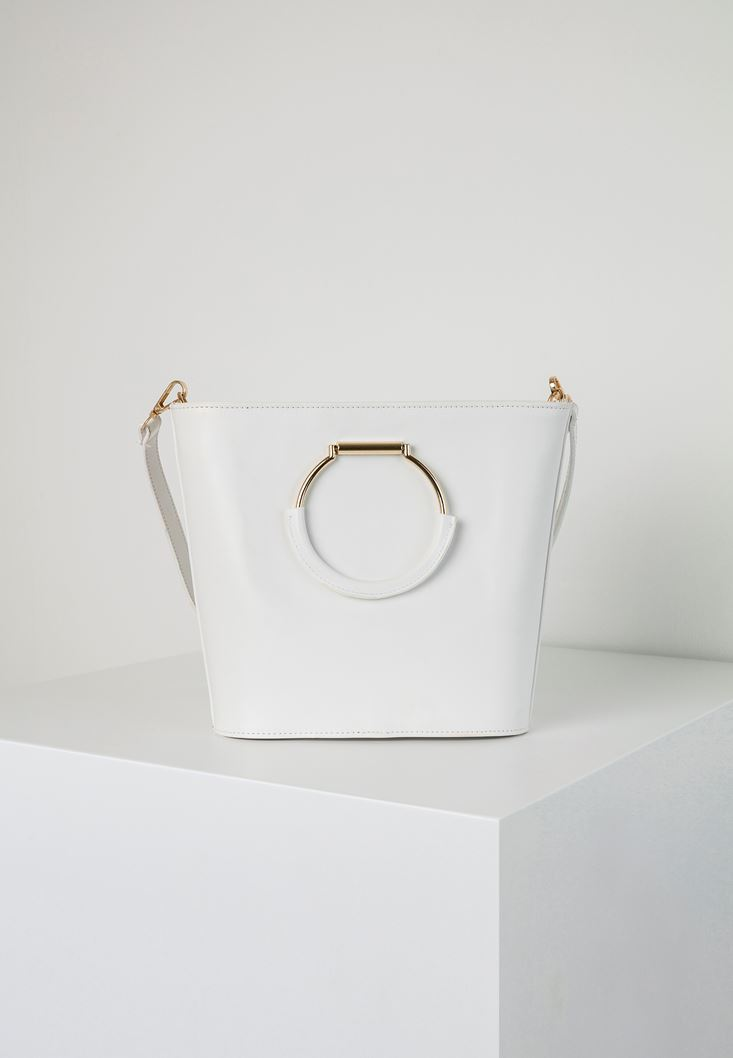 White Tote Bag with Metal Handles