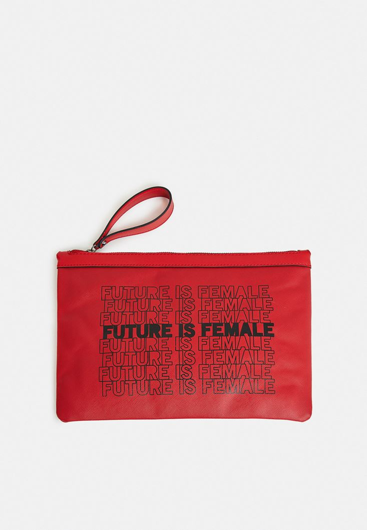 Kırmızı Slogan Baskılı Portföy Çanta