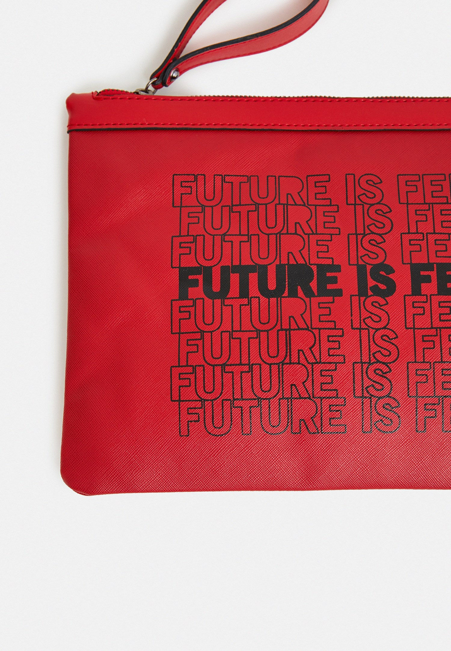 Bayan Kırmızı Slogan Baskılı Portföy Çanta